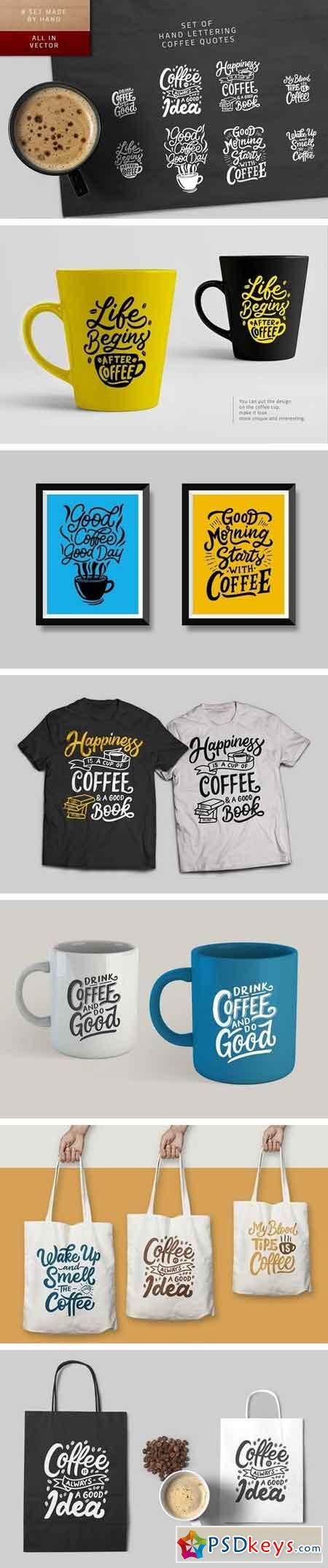 Set of Hand Lettering Coffee Quotes 2092320