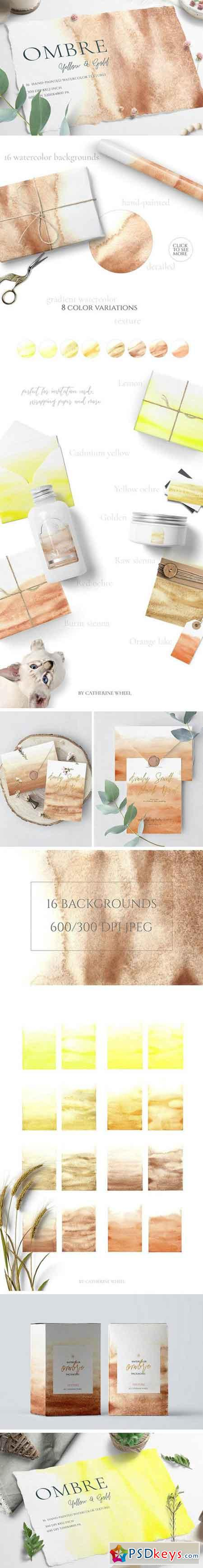 Watercolor Ombre Yellow & Gold 2296992