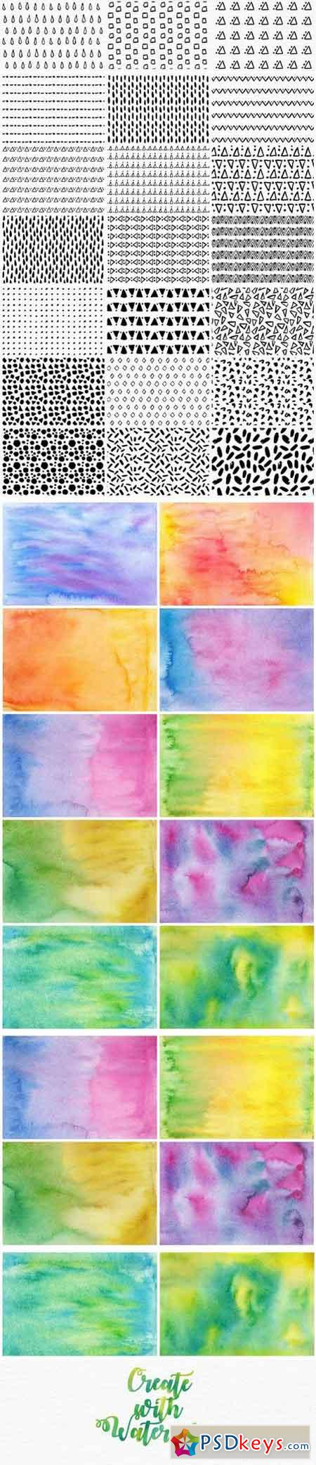 Watercolor Patterns & Textures Kit 1620304