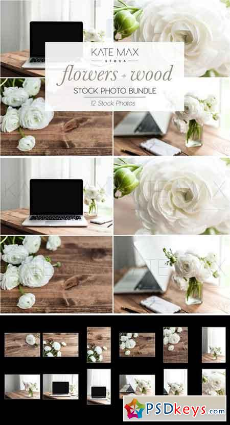 Flowers + Wood Stock Photo Bundle 2323472
