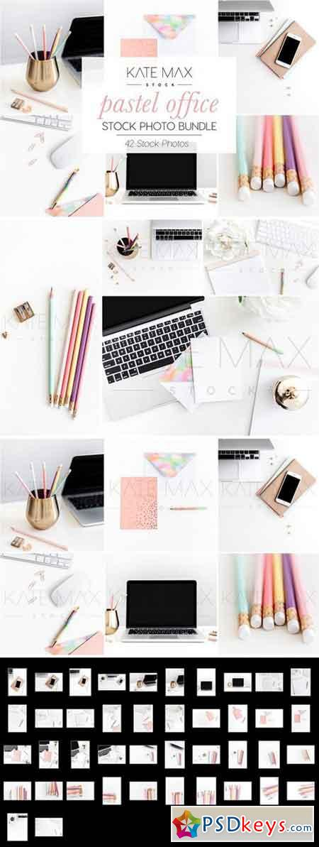 Pastel Office Stock Photo Bundle 2323576