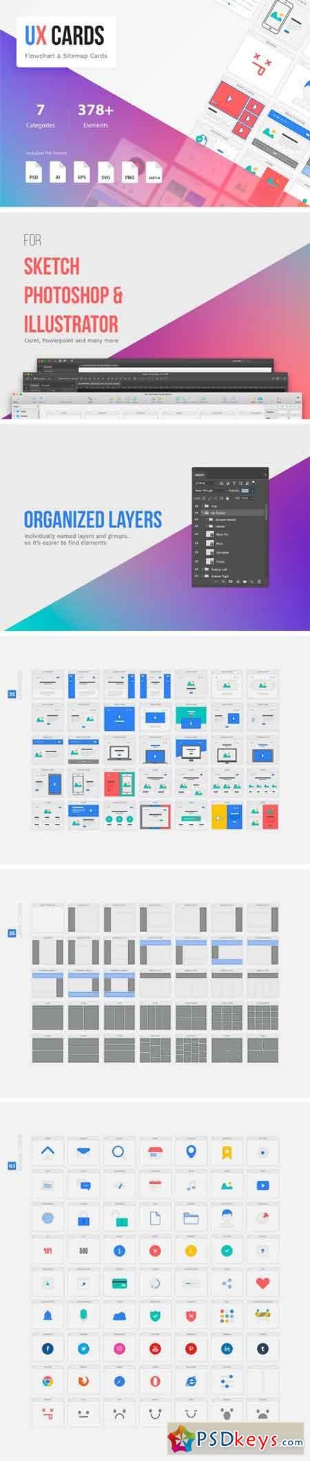 UX Cards - Flowchart & Sitemap Cards 1647099