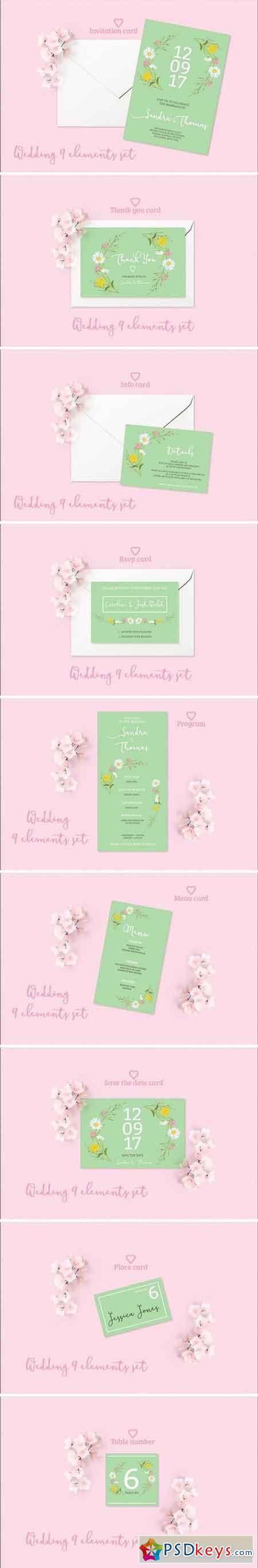 Summer Wedding Invitation Set 1509082