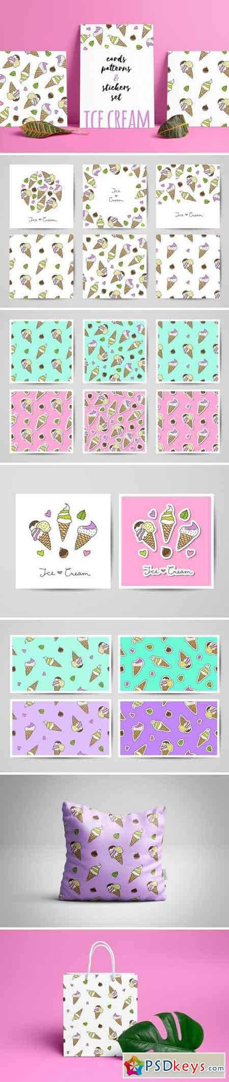 Ice Cream patterns and cards 1521110