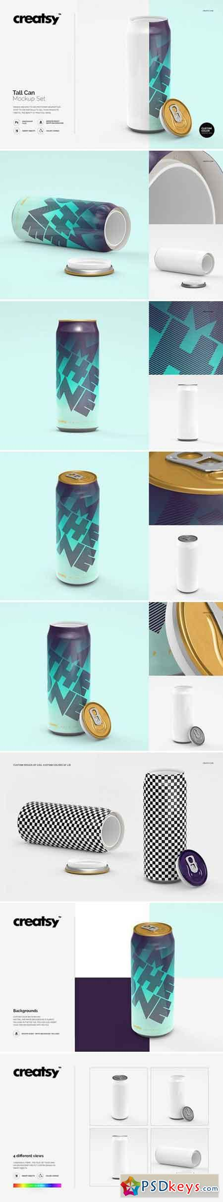 f6fe7be847 Tall Can Mockup Set 1608731 » Free Download Photoshop Vector Stock ...