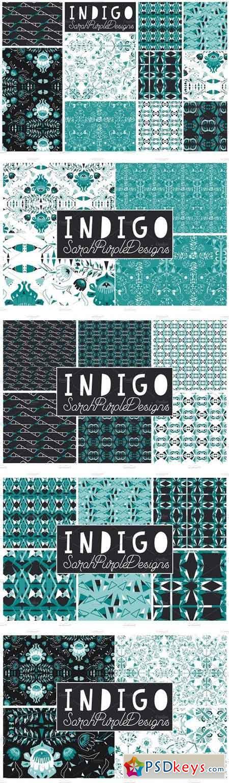 Indigo Seamless Vector Patterns x 10 1112812