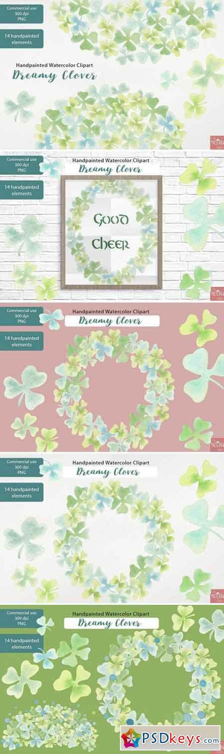 Watercolor Clipart Dreamy Clover PNG 2322289