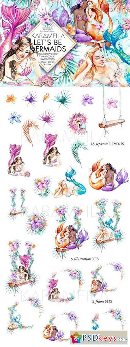 Let's Be Mermaids Clipart 1606112