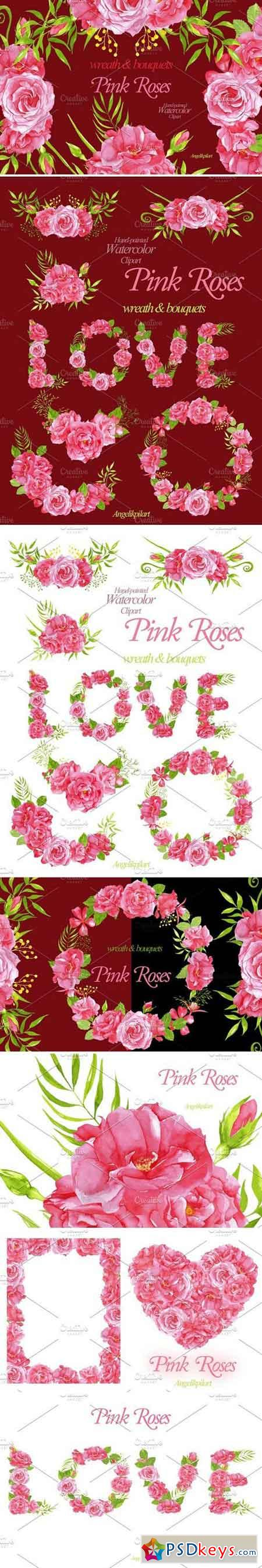 watercolor PinkRoses wreath&bouquets 1600048