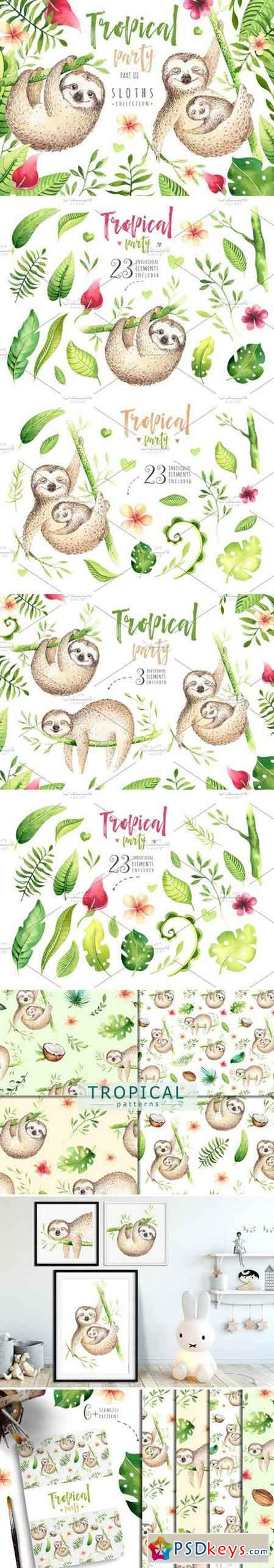 Tropical party III Sloth collection 1472257