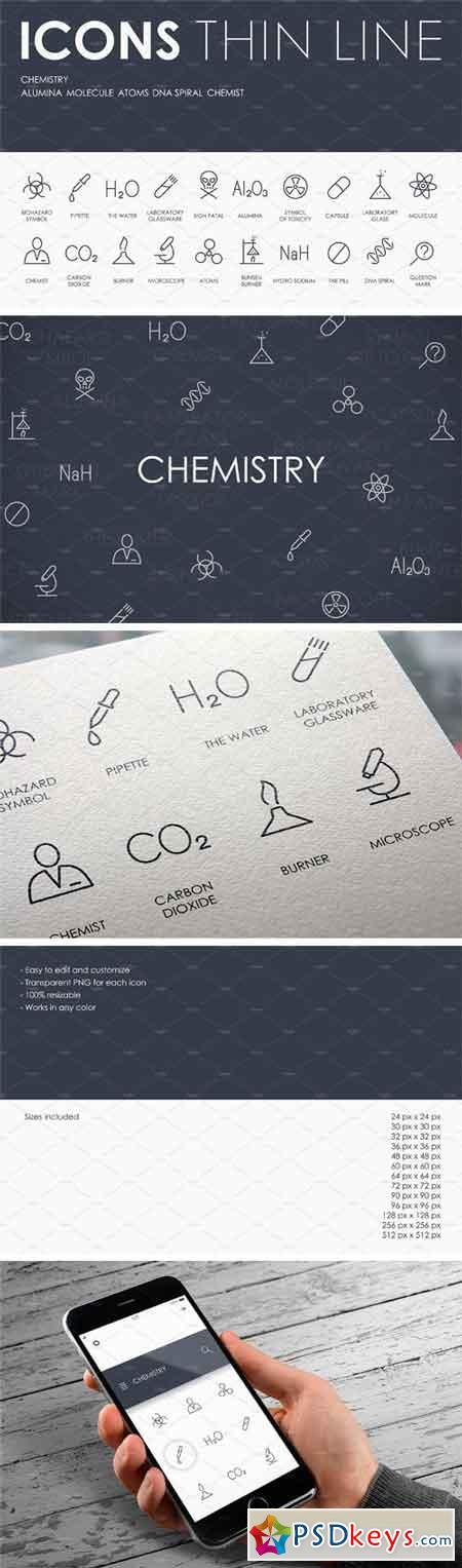 Chemistry Thinline Icons 2268971