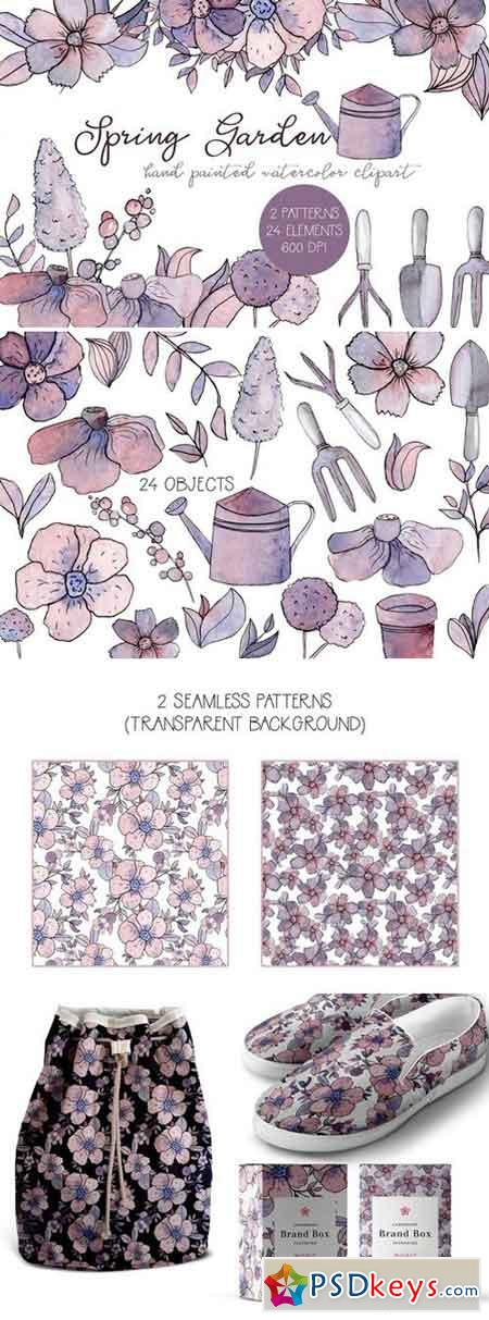 Spring Garden Watercolor Clipart Set 2314200