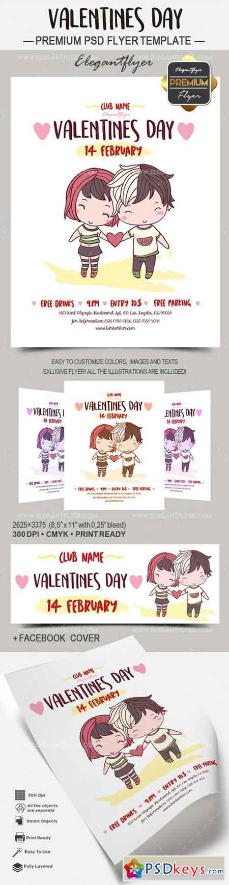 Valentines Day – Flyer PSD Template + Facebook Cover