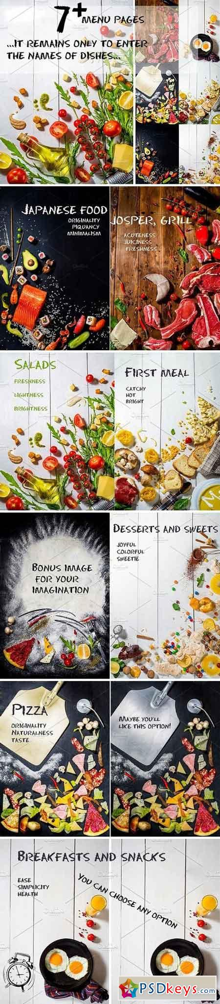 Set of menu pages or table tents 1539887