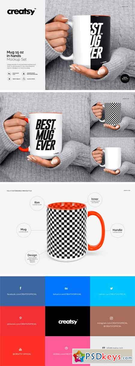Mug Mockup 15 oz In Woman Hands 2318202