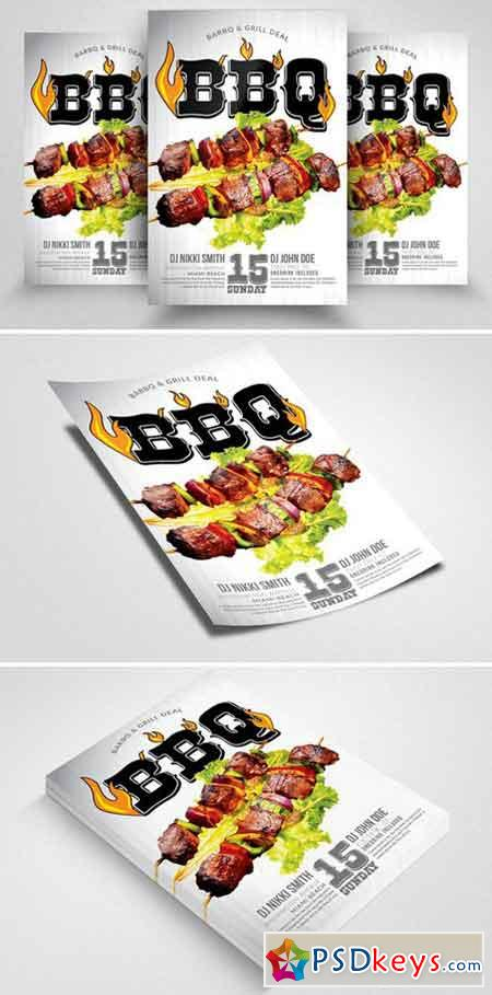 BBQ Grill Party Flyers Template 2339678