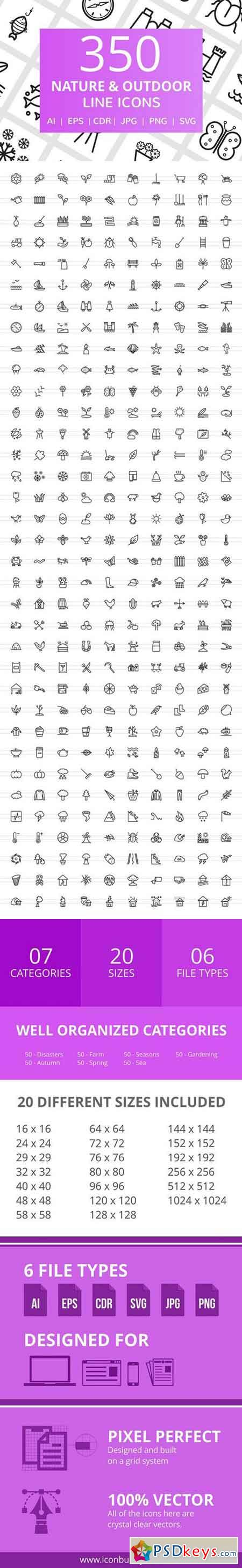 350 Nature & Outdoor Line Icons 2321702