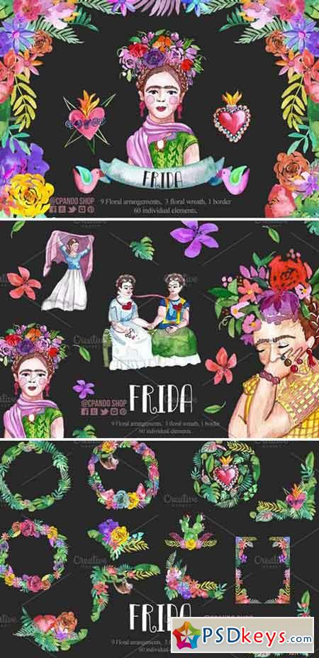 Frida Kahlo watercolor clip art 2340154