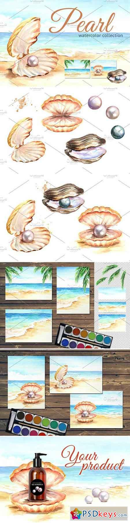 Pearls Watercolor collection 2340274