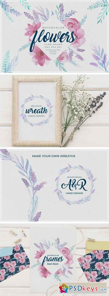 Delicate Watercolor Floral Graphics 2272529