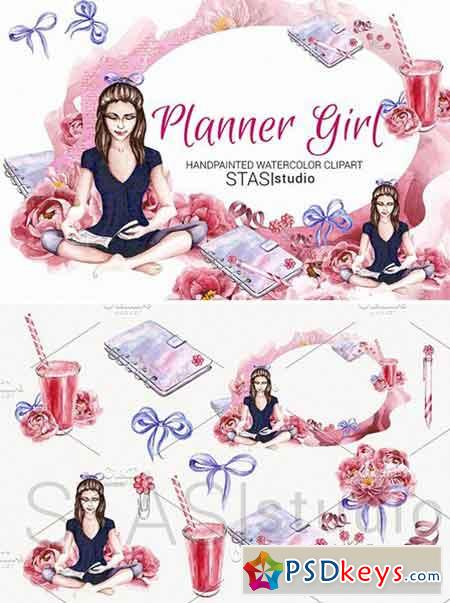Planner Girl Watercolor Clipart 1593833