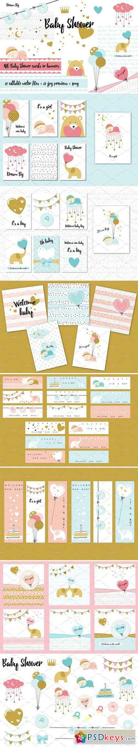 Baby Shower - cards and banners 1597512