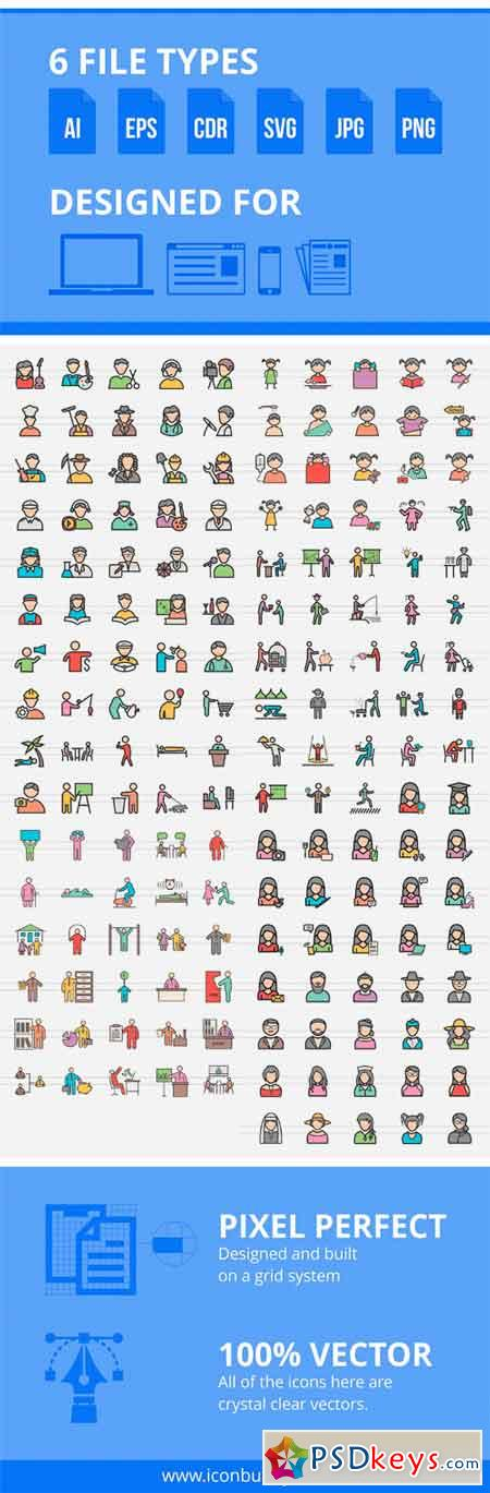 166 People Filled Line Icons 2293914