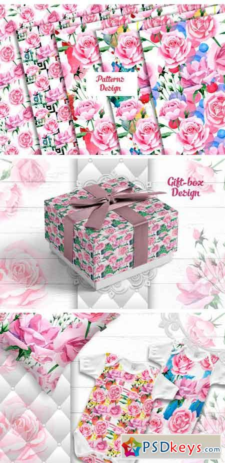 Tea-rose PNG Watercolor Set 2295734