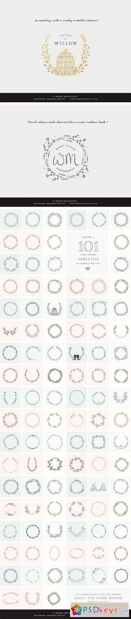 101 Hand Drawn Wreaths EPS PSD 2337257