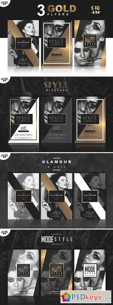 3 Gold Elegant Flyer Templates 2359478 Free Download Photoshop