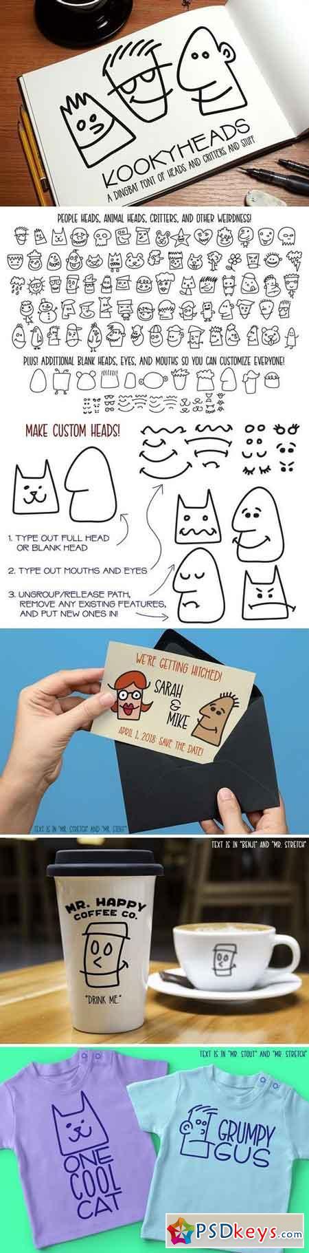 Kookyheads - a dingbat doodle font! 2031569