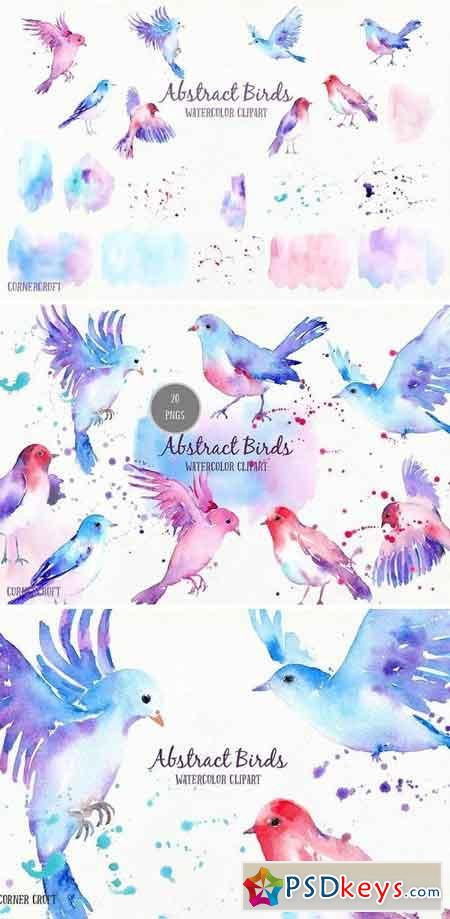 Watercolor Abstract Flying Birds 1554382