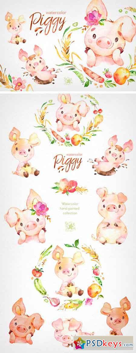 Watercolor Piggy Collection 2337221