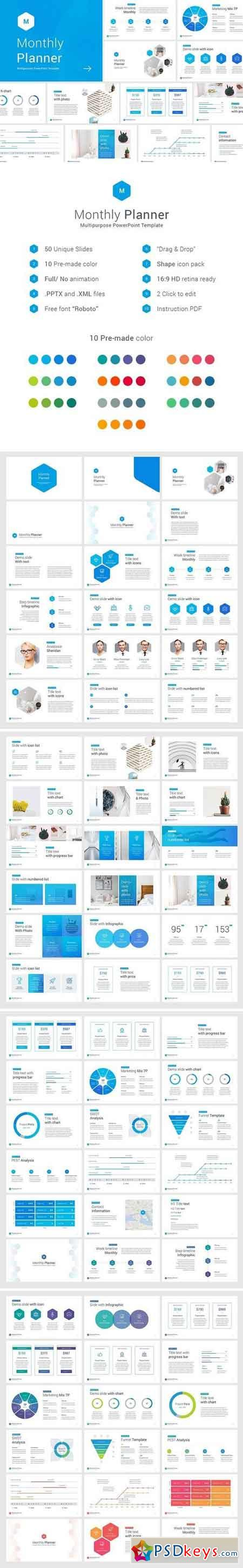 Monthly planner PowerPoint Template 2091012