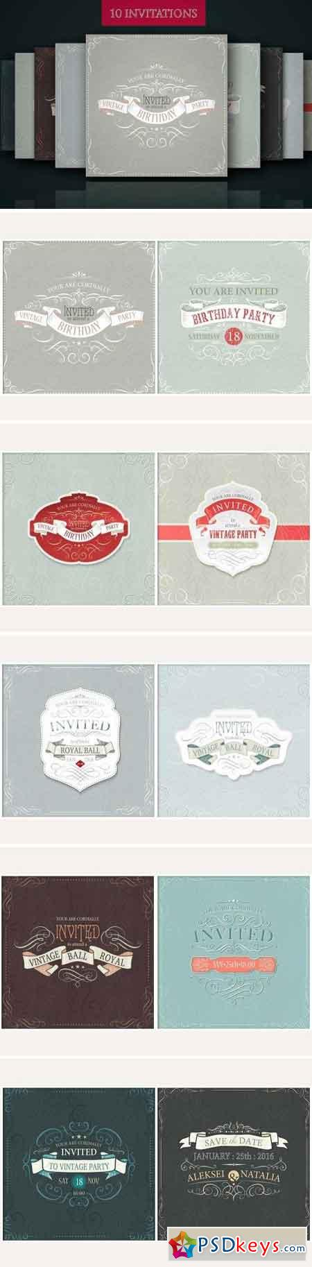 Set of ready design for invitations 1569793
