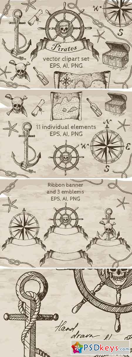 Pirates Vector Clipart Set 2357677
