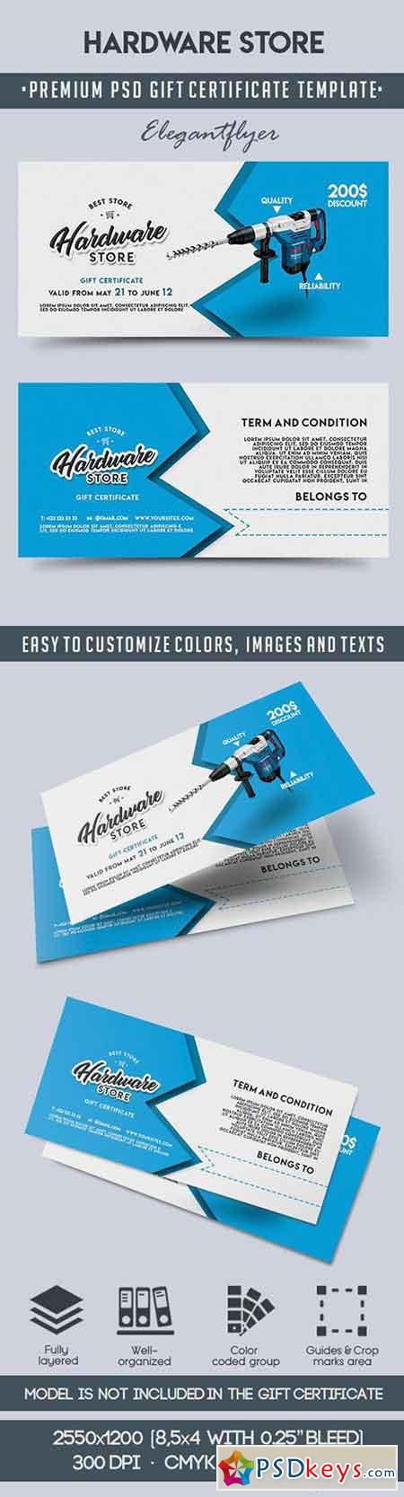 Hardware Store – Premium Gift Certificate PSD Template