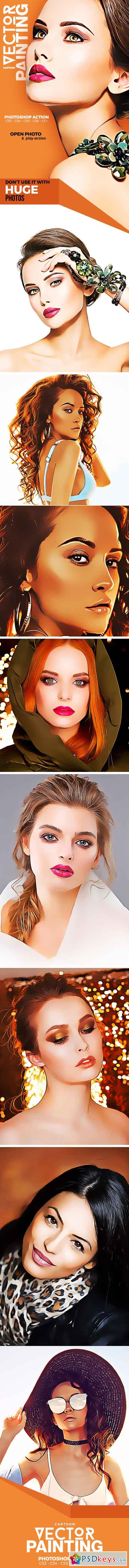Cartoon Vector Painting Photoshop Action 21616686