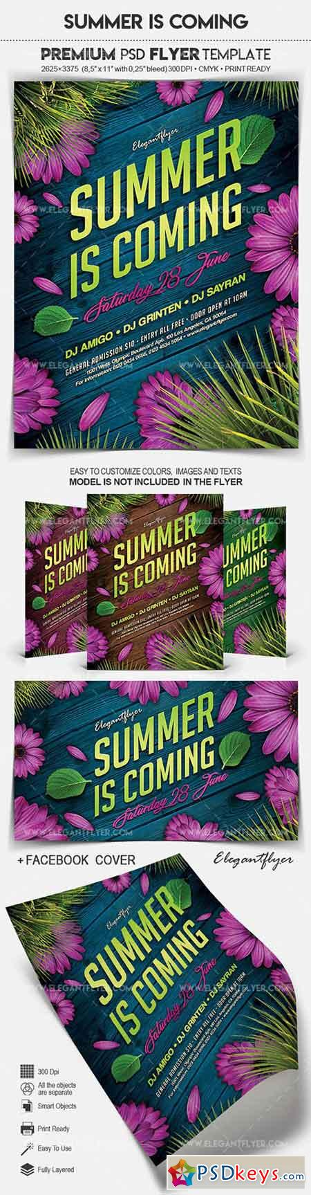 Summer is Coming – Flyer PSD Template + Facebook Cover