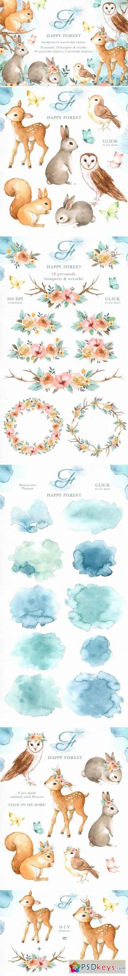 Happy Forest Watercolor Clip Art 2356893