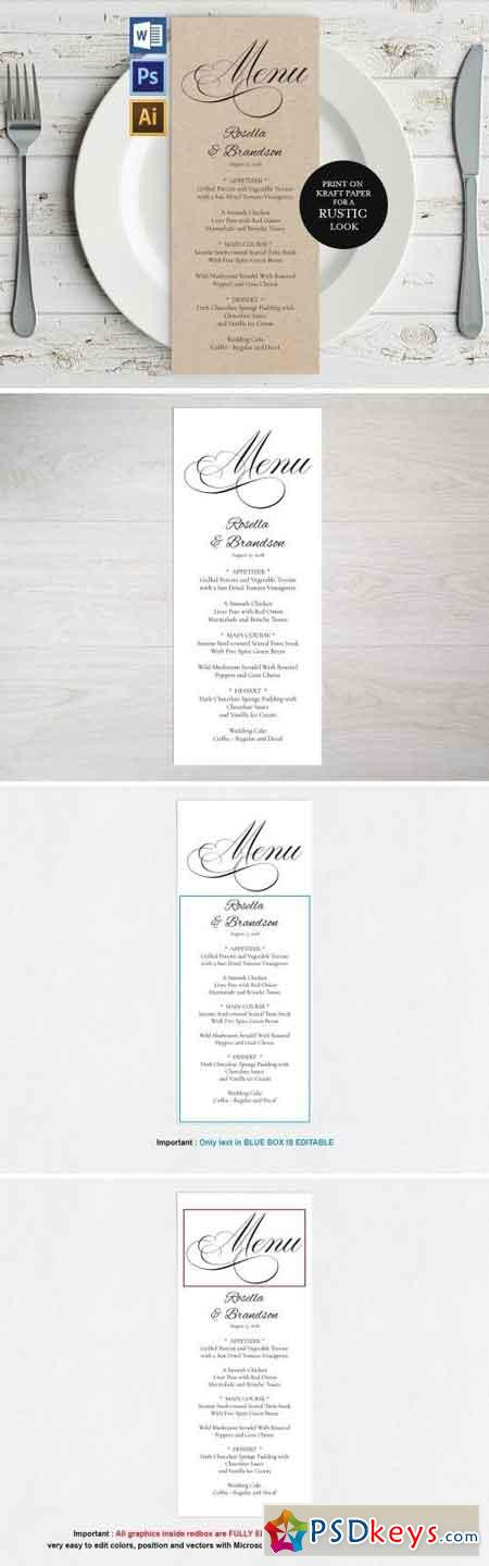 Wedding Menu Template Wpc 125 1550243