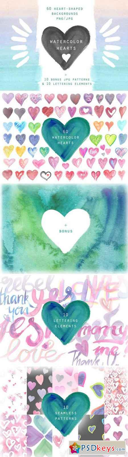 Watercolor hearts Background set 2356545