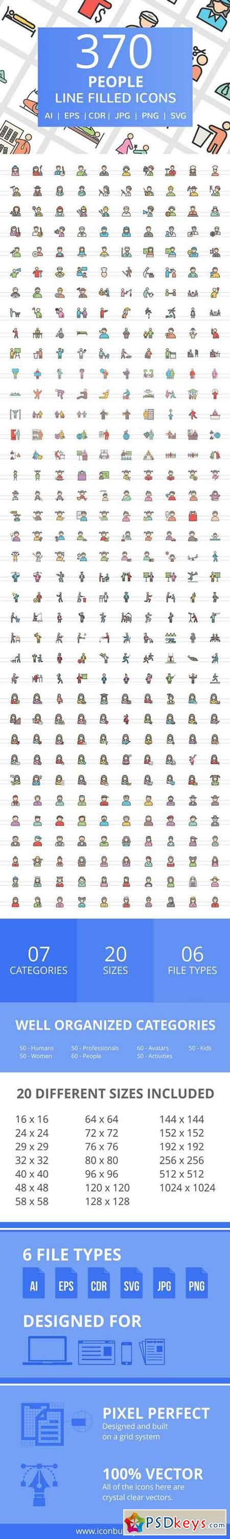 370 People FIlled Line Icons 2356888