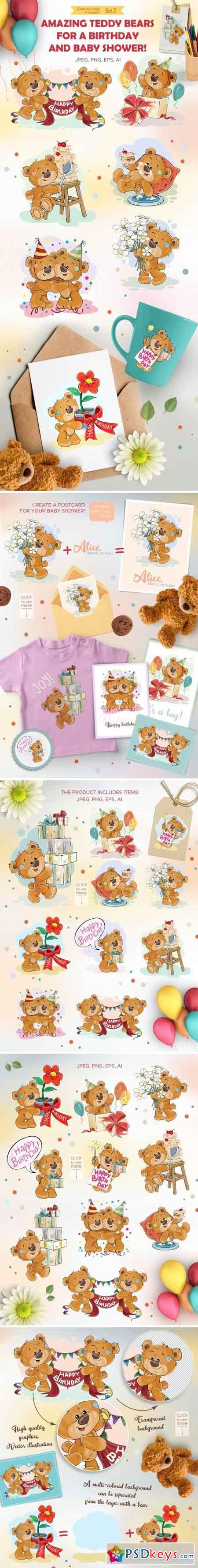 Teddy bears Happy Birthday Set 2 2160412