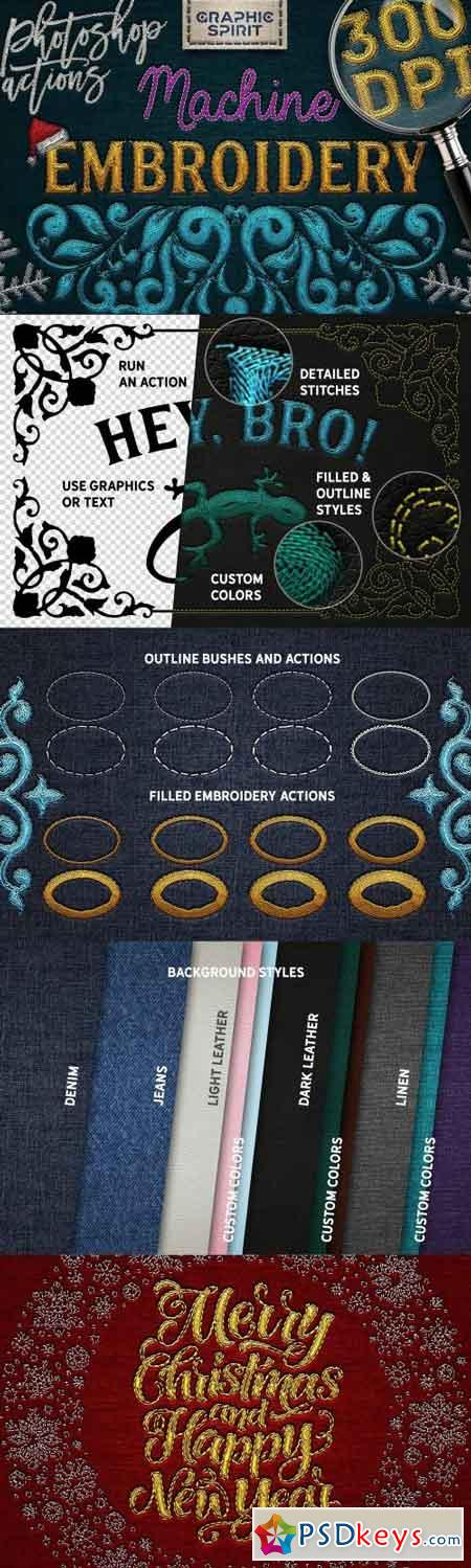 Machine Embroidery Photoshop Actions 2167124