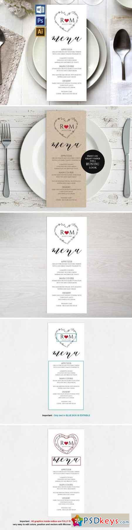 Wedding Menu Template Wpc 126 1550247