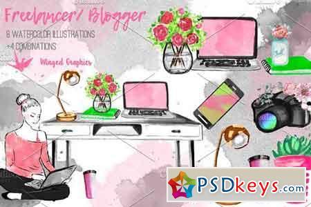 Freelancer blogger set 2355667