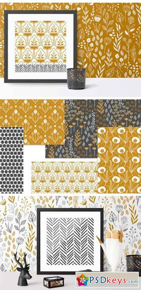 Gold & Grey Modern Floral Patterns 2338328