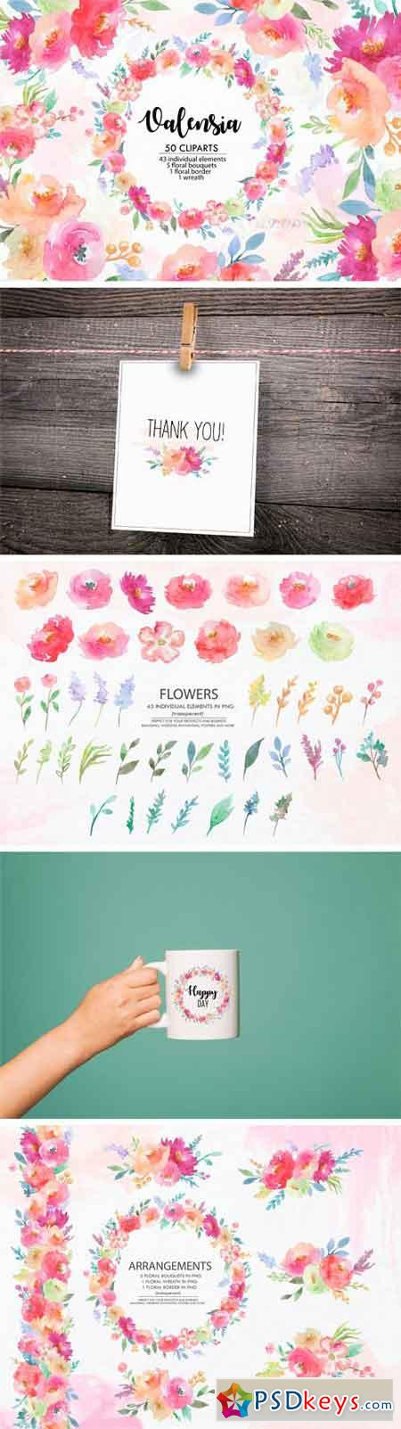 Valensia Floral Clipart Watercolor 2370436