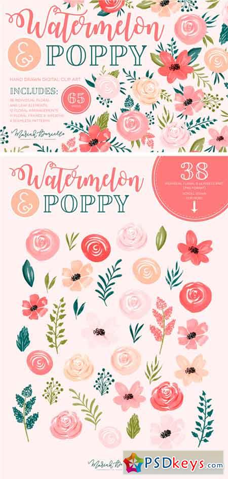 Watermelon Poppy Floral Graphic Set 2336127